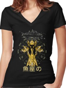 PISCES Women's Fitted V-Neck T-Shirt