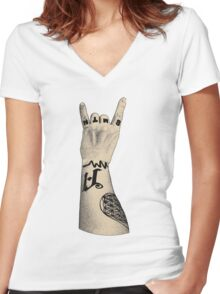 Rock Hand Women's Fitted V-Neck T-Shirt