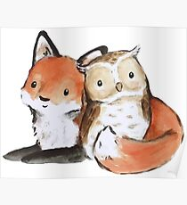 FOX AND OWL BUDDIES Poster