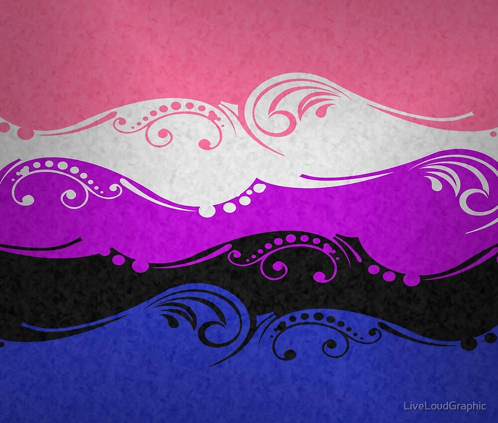 """Gender Fluid Ornamental Flag"" by LiveLoudGraphic 