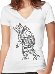 Walking Astronaut  Women's Fitted V-Neck T-Shirt