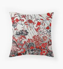Woodcut Flowers in Red Throw Pillow