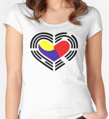 Korean Patriot Flag Series (Heart) Fitted Scoop T-Shirt