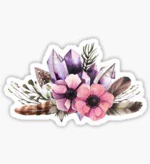 Blumen und Kristalle Sticker