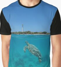 Sea turtle underwater lighthouse island Graphic T-Shirt