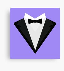 Black Tuxedo Suit with bow tie R946n Canvas Print
