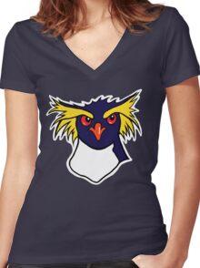 Grumpy Rockhopper Penguin Women's Fitted V-Neck T-Shirt