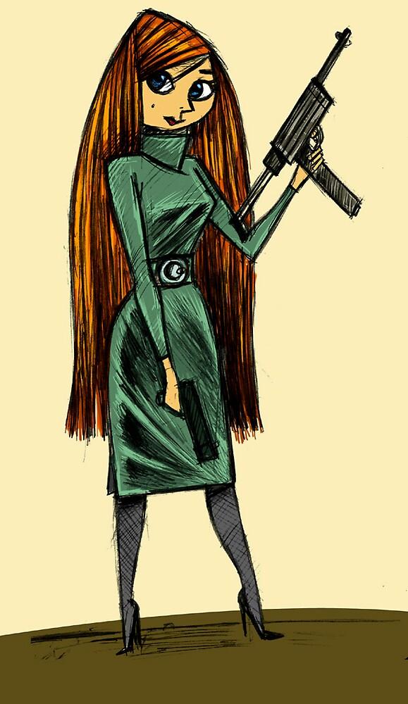 Girl with machine gun by Edward Crosby