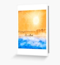 Golden Skies And Blue Water - Fishing Boat Art Greeting Card