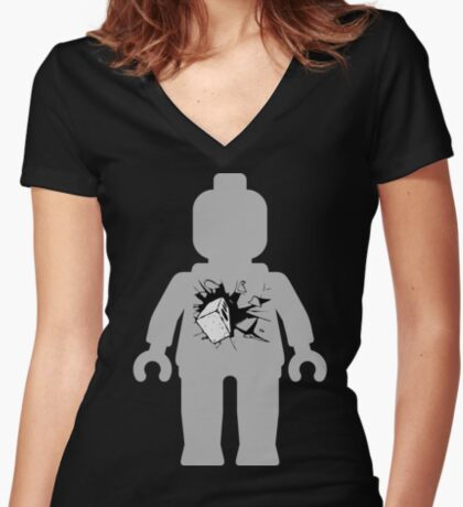 Minifig with Smashing Window Women's Fitted V-Neck T-Shirt