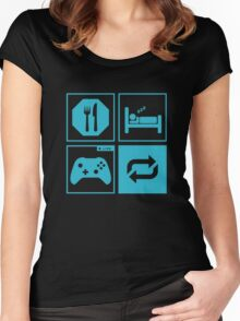Eat, Sleep, Game, Repeat. Women's Fitted Scoop T-Shirt