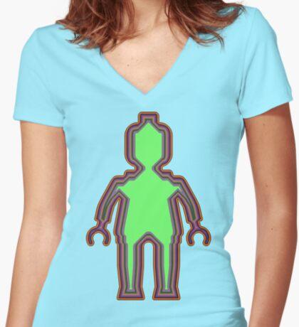 Alien Minifig Xray Women's Fitted V-Neck T-Shirt
