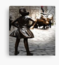 Defiant Girl Statue Canvas Print
