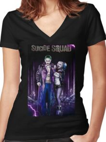 HARLEY QUINN & THE JOKER Women's Fitted V-Neck T-Shirt