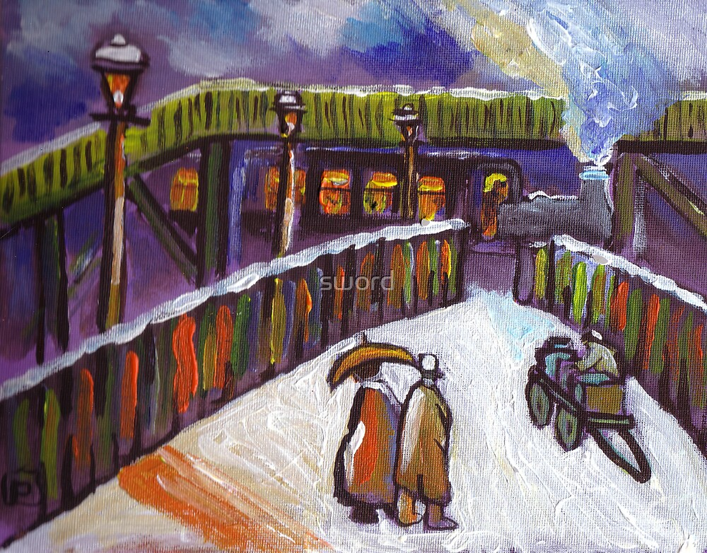 Railway station snowscene from my original acrylic painting by sword