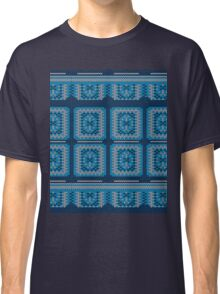 Blue Knitted Pattern Classic T-Shirt