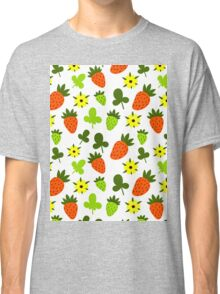 Pattern Hand Drawing Strawberries Flowers Classic T-Shirt