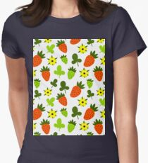 Pattern Hand Drawing Strawberries Flowers Womens Fitted T-Shirt