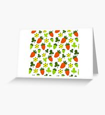 Pattern Hand Drawing Strawberries Flowers Greeting Card