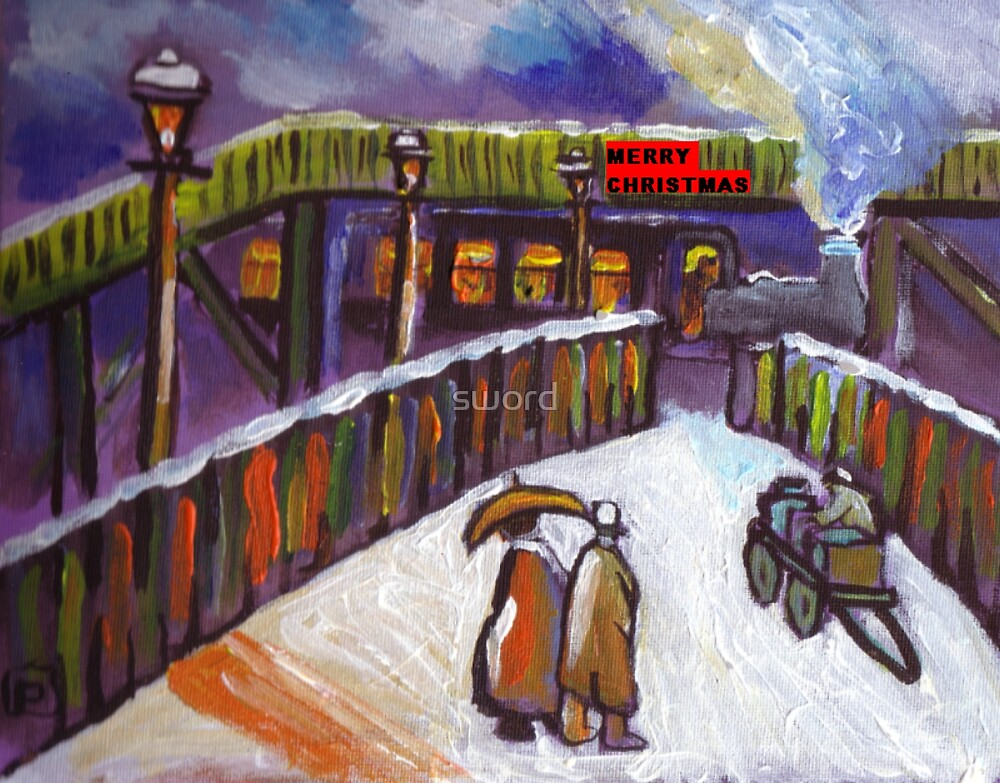 Merry christmas card Railway station snowscene from my original acrylic painting by sword