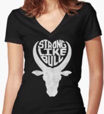 Strong Like Bull Women's Fitted V-Neck T-Shirt