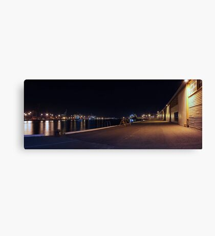 Fremantle Docks At Night Panorama  Canvas Print