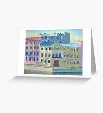 Saint-petersburg, Fontanka embankment, city landscape, acrylic art Greeting Card