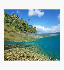 over under sea tropical coast coral reef underwater Photographic Print