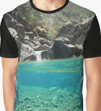 Over underwater river rocks creek Graphic T-Shirt