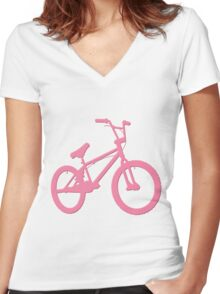 Pink Bicycle in Grey Background Women's Fitted V-Neck T-Shirt