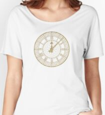 Elegant Vintage Gold Clock with Glotter Women's Relaxed Fit T-Shirt