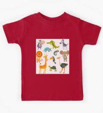 Funny Collection Hand Drawing Animals Kids Tee