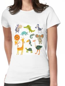 Funny Collection Hand Drawing Animals Womens Fitted T-Shirt