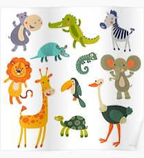 Funny Collection Hand Drawing Animals Poster