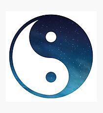 yin yang symbol starry night sky Photographic Print