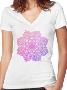 Mandala Pink Purple Women's Fitted V-Neck T-Shirt