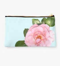 Pink Flower Petals in Blue Background Studio Pouch