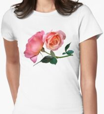 Pink Rose Flower with Green Background T-Shirt