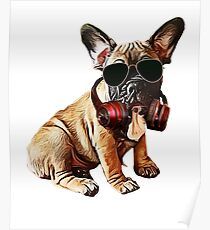 Cool dog with headphones Poster
