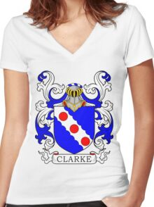 Clark Coat of Arms Women's Fitted V-Neck T-Shirt