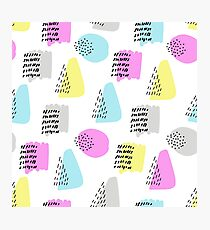 Simple memphis cute pattern. Seamless colorful background Photographic Print