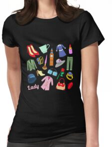 English Lady Woman Fashion Badges, Patches, Stickers with Clothes and Jewelry. Vector Doodle Womens Fitted T-Shirt