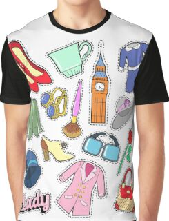 English Lady Woman Fashion Badges, Patches, Stickers with Clothes and Jewelry. Vector Doodle Graphic T-Shirt