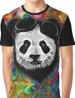 Psychedelic Flower Power Galaxy PANDA Pilot Graphic T-Shirt