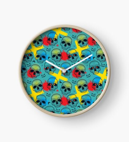 Pattern with dotted skull, arrows, crosses and red blots. Clock