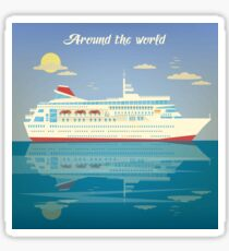 Around the World Travel Banner with Cruise Liner Sticker