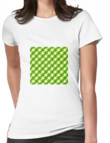 soft green background white green circles pattern Womens Fitted T-Shirt