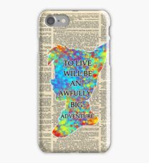 Colorful Watercolor Peter Pan Over Vintage Dictionary Page - To Live iPhone Case/Skin