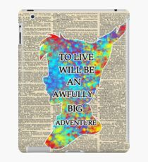 Colorful Watercolor Peter Pan Over Vintage Dictionary Page - To Live iPad Case/Skin