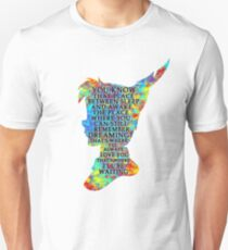 Colorful Watercolor Peter Pan Quote  - That Place T-Shirt